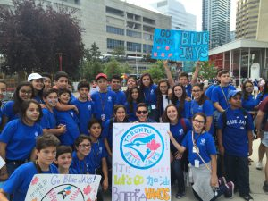 Summer camp students attending a Blue Jays game