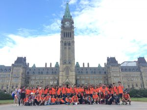 Group photo shot of summer camp students at Parliament