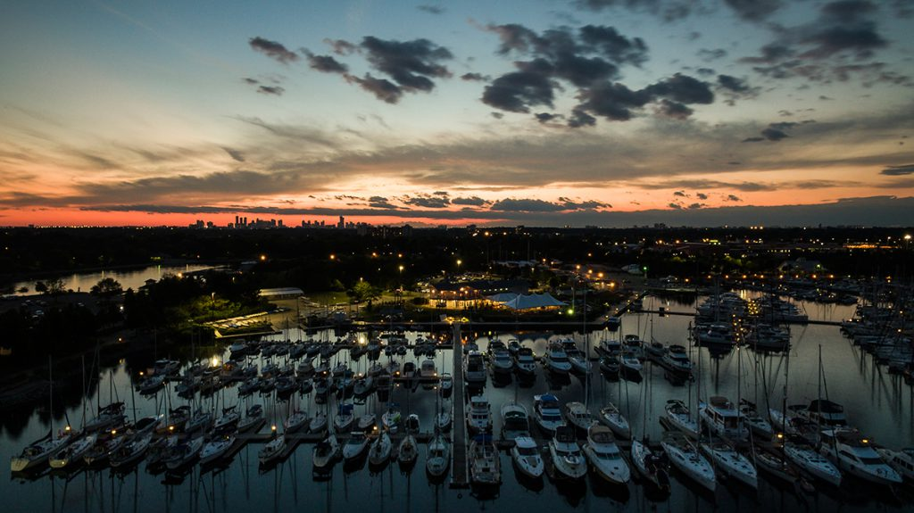 Boating harbor on Toronto Lakeshore