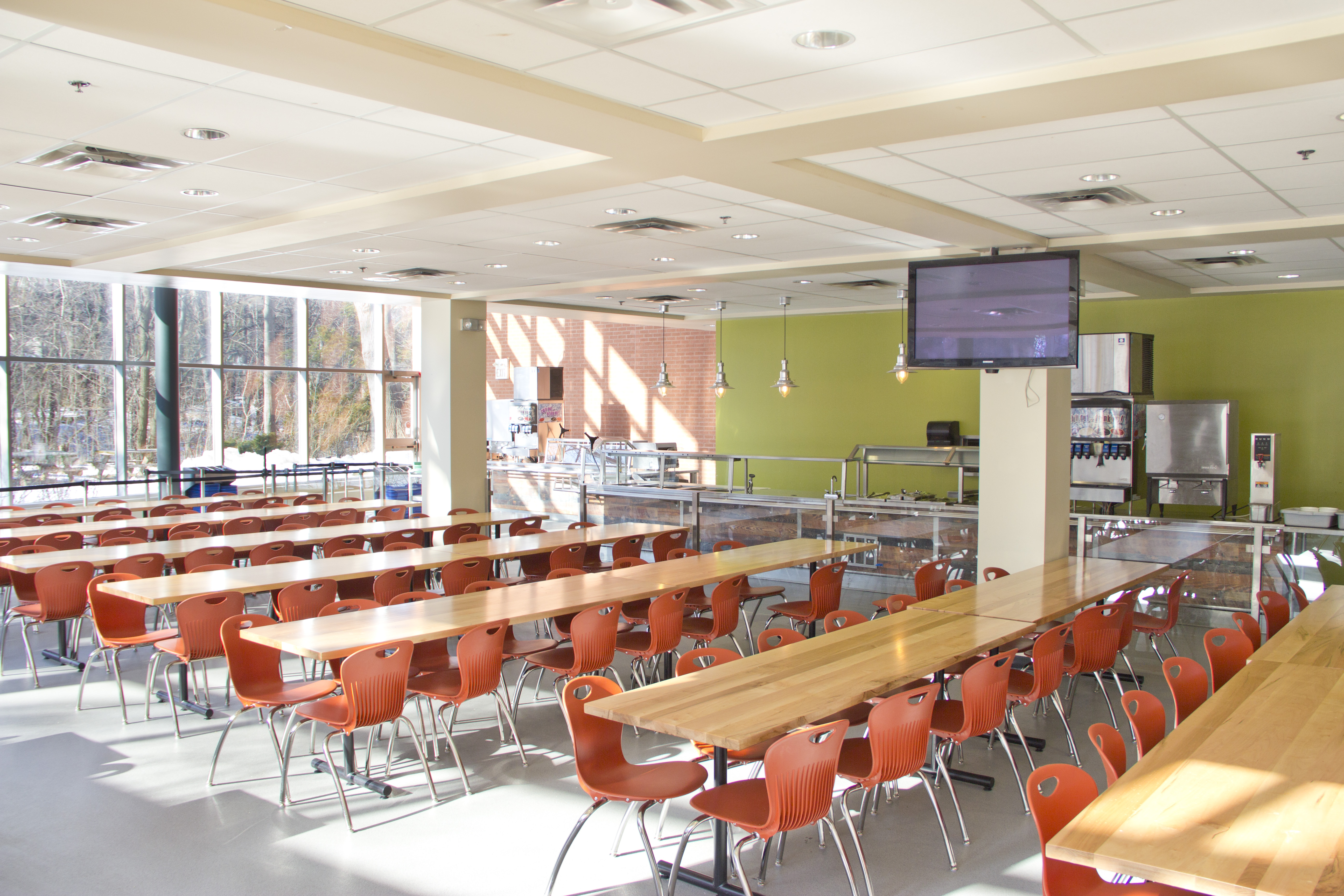 Cafeteria tables and service station